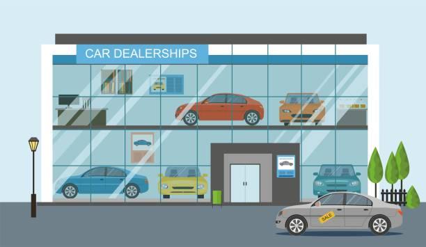Modern car dealership showroom Modern car dealership showroom interior Illustration showroom stock illustrations
