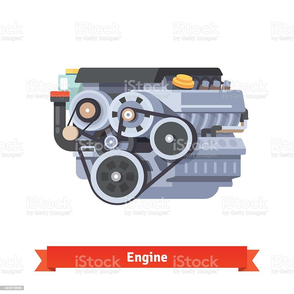 Modern car internal combustion engine vector art illustration
