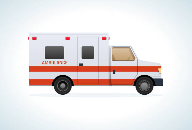 Modern car of medical ambulance service. Emergency vehicle vector art illustration