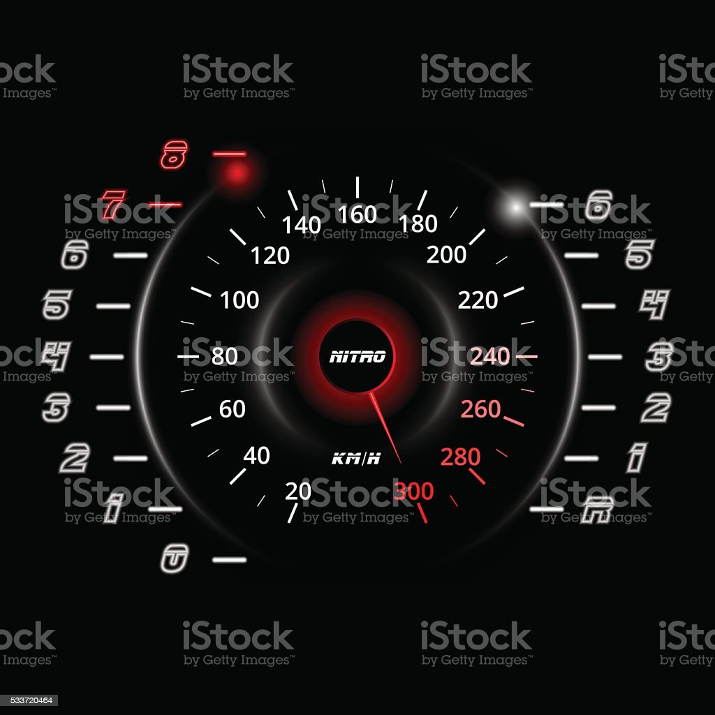 rpm gauge vector. modern car speedometer and rpm gauge isolated on black. vector . royalty-free stock