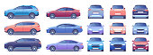 Modern car vector illustration set. Cartoon flat side front back view collection with colorful car and closed trunk, compact city crossover, passenger sedan car, transport mockup template isolated set