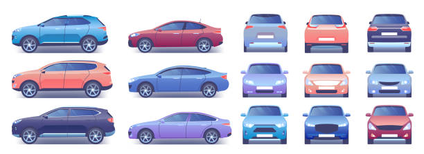Modern car vector illustration set, cartoon flat side front back view collection with colorful car and closed trunk, compact city crossover vector art illustration