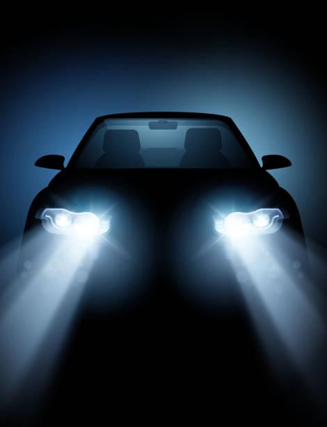 stockillustraties, clipart, cartoons en iconen met moderne auto met heldere led-koplampen - mist donker auto
