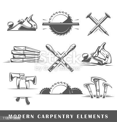 Modern carpentry tools isolated on white background. Vector illustration