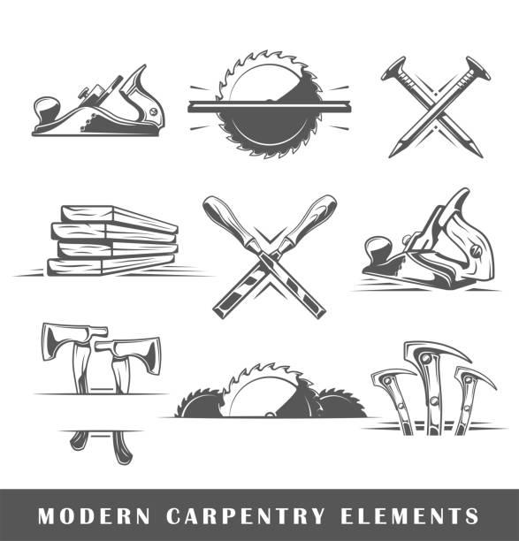 Modern carpentry tools Modern carpentry tools isolated on white background. Vector illustration nail work tool stock illustrations