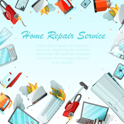 Modern Cartoon Flat Home Repair Service Conceptdamaged Consumer Electronics Appliances Around Ready To Use Copy Spacesmall Business Flyer Banner Conceptdifferent Broken Household Goods Stock Illustration Download Image Now Istock