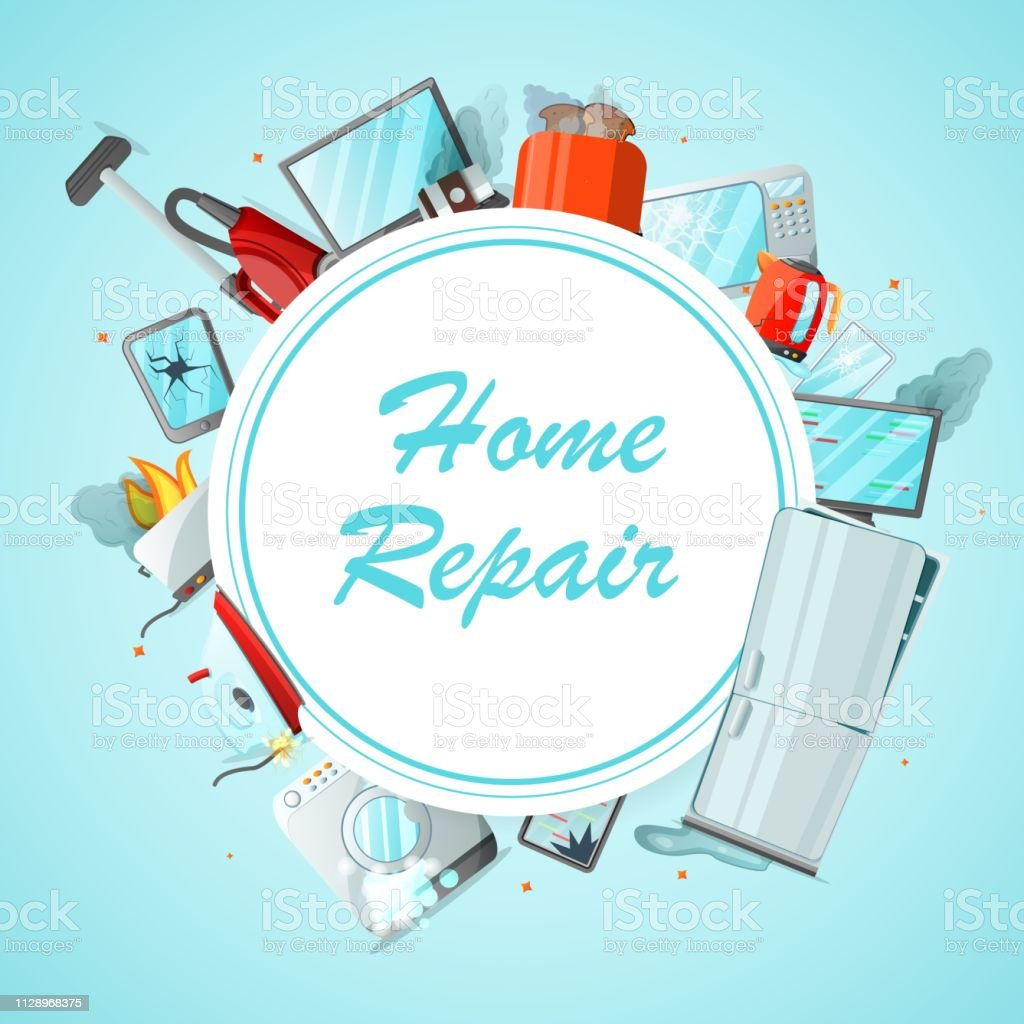 Modern cartoon flat home repair service concept-damaged consumer electronics appliances around ready to use copy space.Small business flyer banner concept-different broken household goods