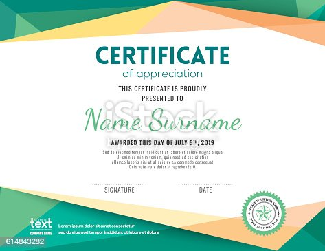 modern certificate background design template stock vector