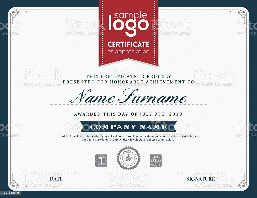 Modern certificate frame design template vector art illustration