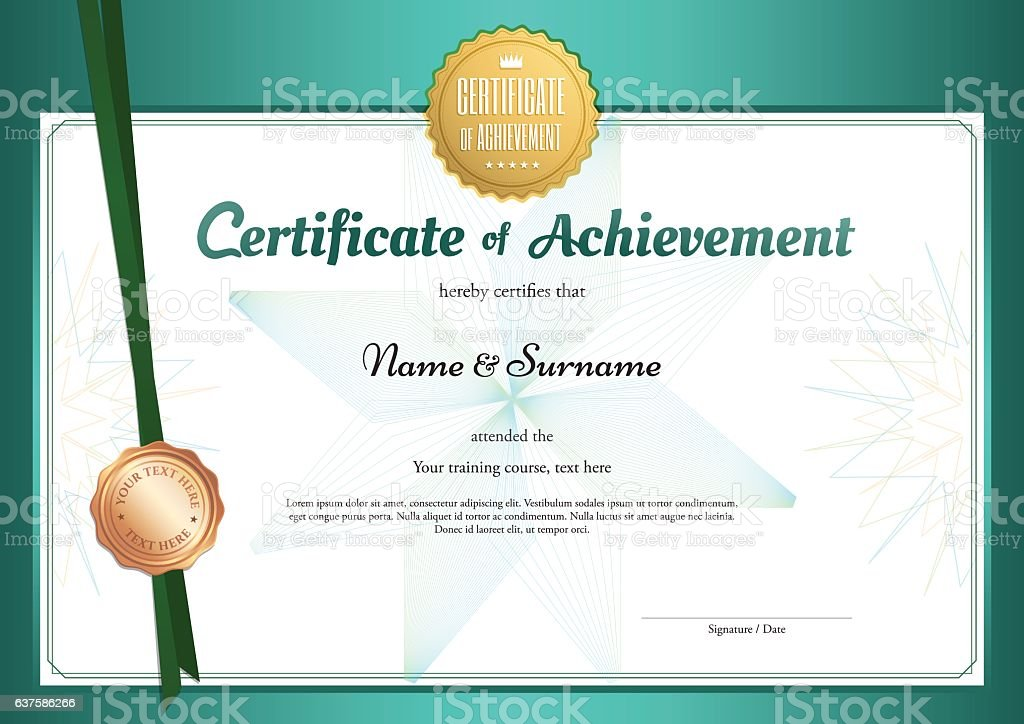 modern certificate of achievement template in environment
