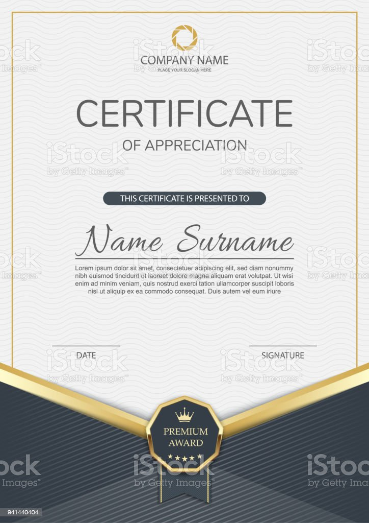 modern certificate of appreciation template design stock vector art