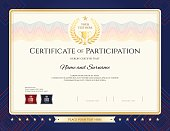 modern certificate of participation template with colorful wave watermark