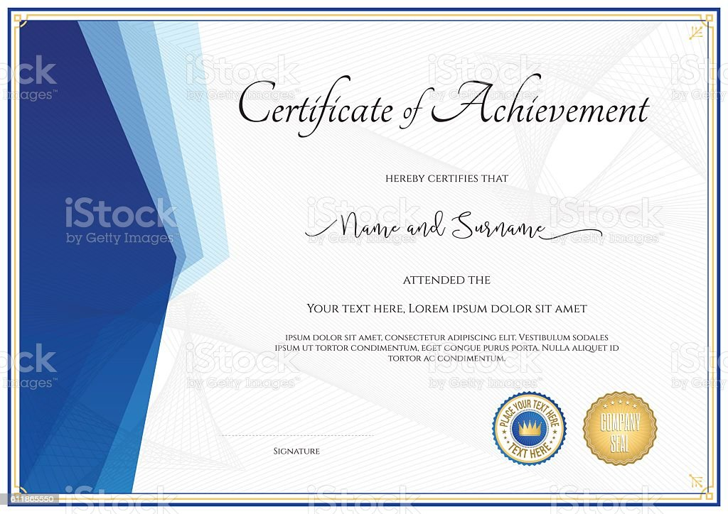 Modern Certificate Template For Achievement In Blue Theme ...