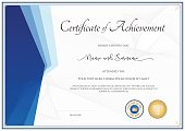 Modern certificate template for achievement in blue theme