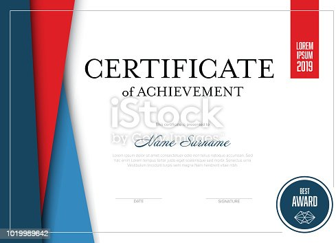 Modern certificate of achievement template with place for your content - material red and blue design