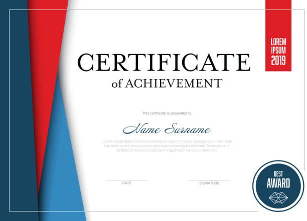 bildbanksillustrationer, clip art samt tecknat material och ikoner med moderna certifikatmall - diploma