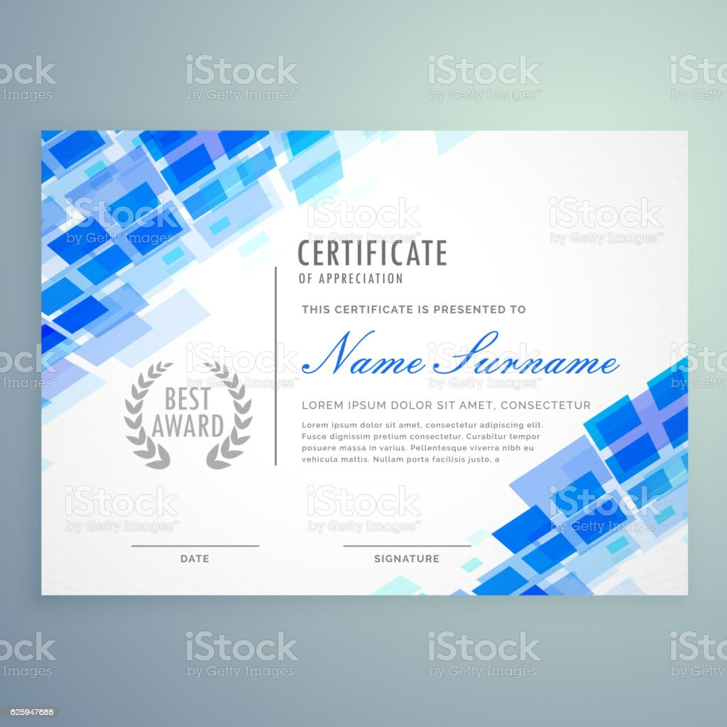 modern certificate template with blue mosiac shapes vector art illustration