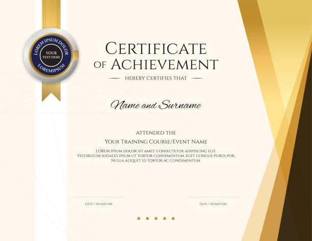 stockillustraties, clipart, cartoons en iconen met moderne certificaatsjabloon met elegante grenskader, diploma ontwerp voor afstuderen of voltooiing - certificaat