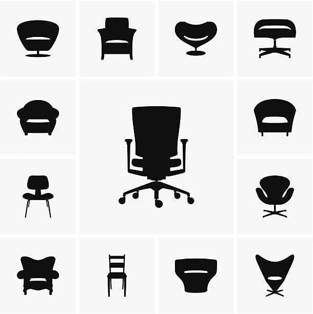 Modern chairs This image is a vector illustration and can be scaled to any size without loss of resolution, can be variated and used for different compositions. This image is an .eps file and you will need a vector editor to use this file, such as Adobe Illustrator. armchair stock illustrations