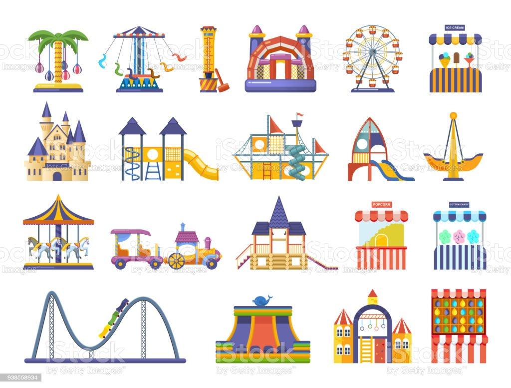 Ilustracion De Parque De Atracciones S Los Ninos Modernos Con