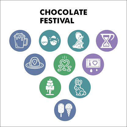 Modern Chocolate festival Infographic design template with icons. Cocoa and Chocolate Infographic visualization in bubble design on white background. Creative vector illustration for infographic.