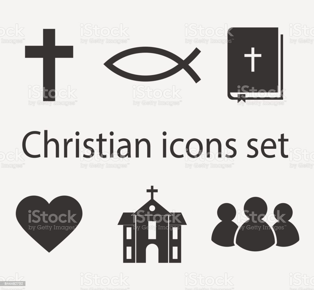 Modern christian icons set. Christian sign and symbol collection.