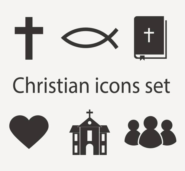 Modern christian icons set. Christian sign and symbol collection. Modern christian icons set. Christian sign and symbol collection. Vector illustration. church stock illustrations