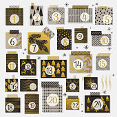 Modern Christmas Advent Calendar in Neutral Colors With Gold Highlights. Each frame has its own holiday background pattern and has a piece of washi tape on top of it.