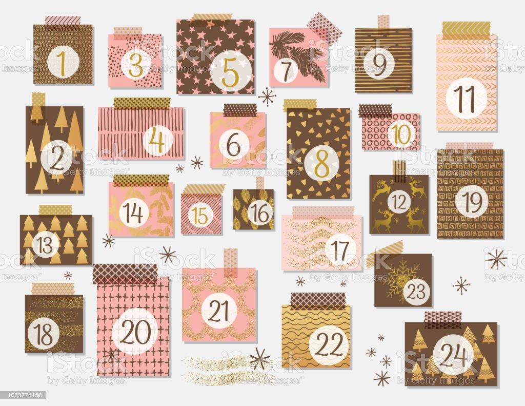 Moderne Weihnachten Adventskalender In Rosa Und Braun Mit