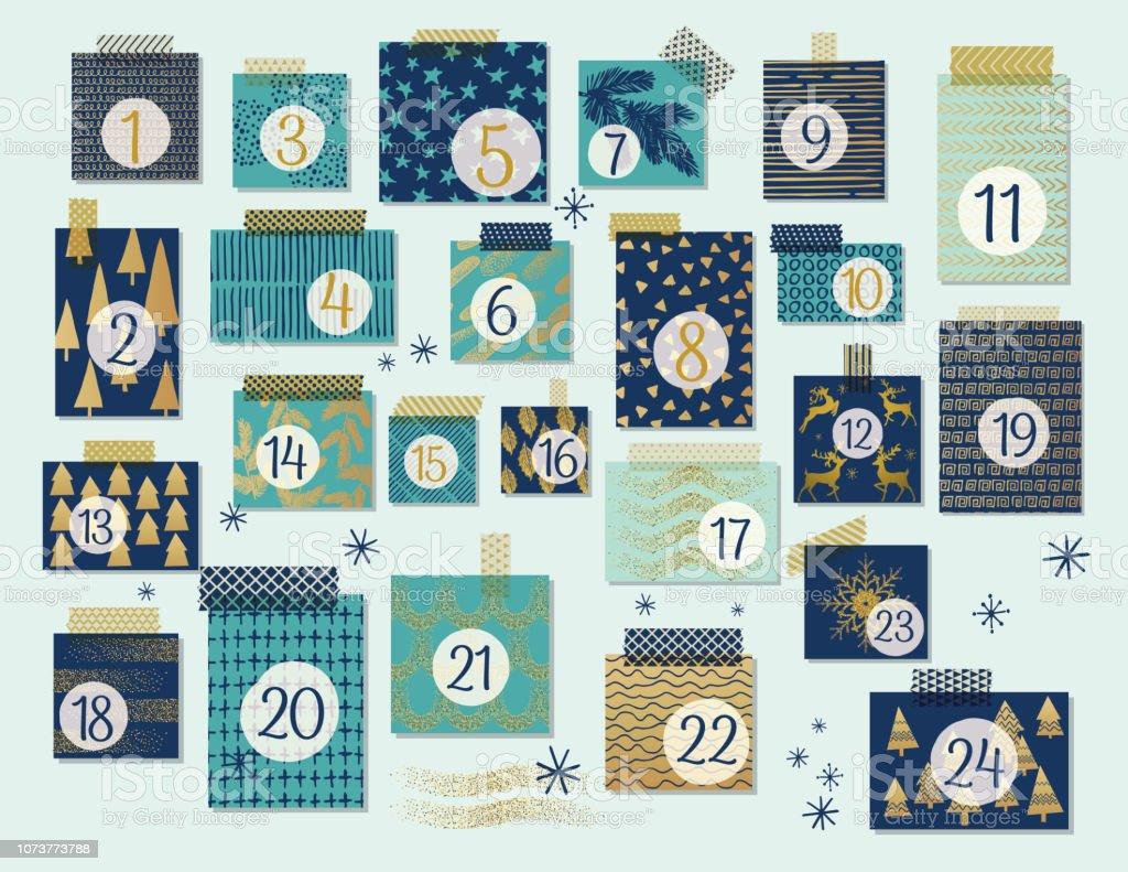 Calendrier de l'Avent Noël moderne, de menthe et de bleu marine avec des reflets or - clipart vectoriel de Arbre libre de droits
