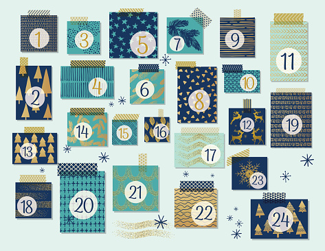 Modern Christmas Advent Calendar, Mint And Navy Blue With Gold Highlights