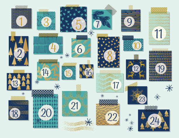 modern christmas advent calendar, mint and navy blue with gold highlights - advent stock illustrations