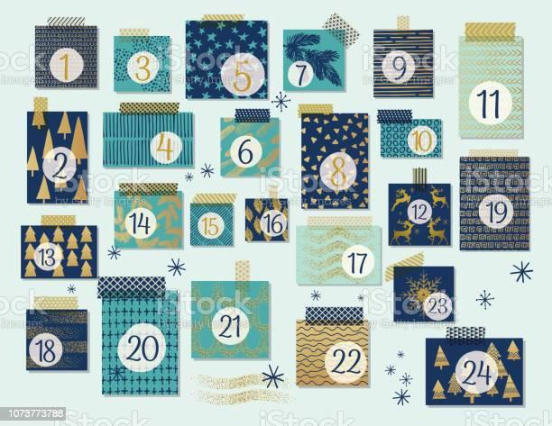Calendrier De Lavent Noël Moderne De Menthe Et De Bleu Marine Avec Des Reflets Or Vecteurs libres de droits et plus d'images vectorielles de Arbre