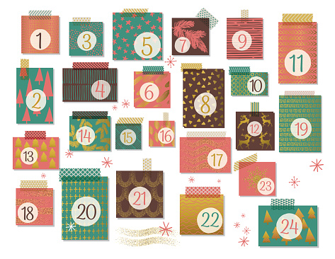 Modern Christmas Advent Calendar, Red, Green And Brown With Gold Highlight