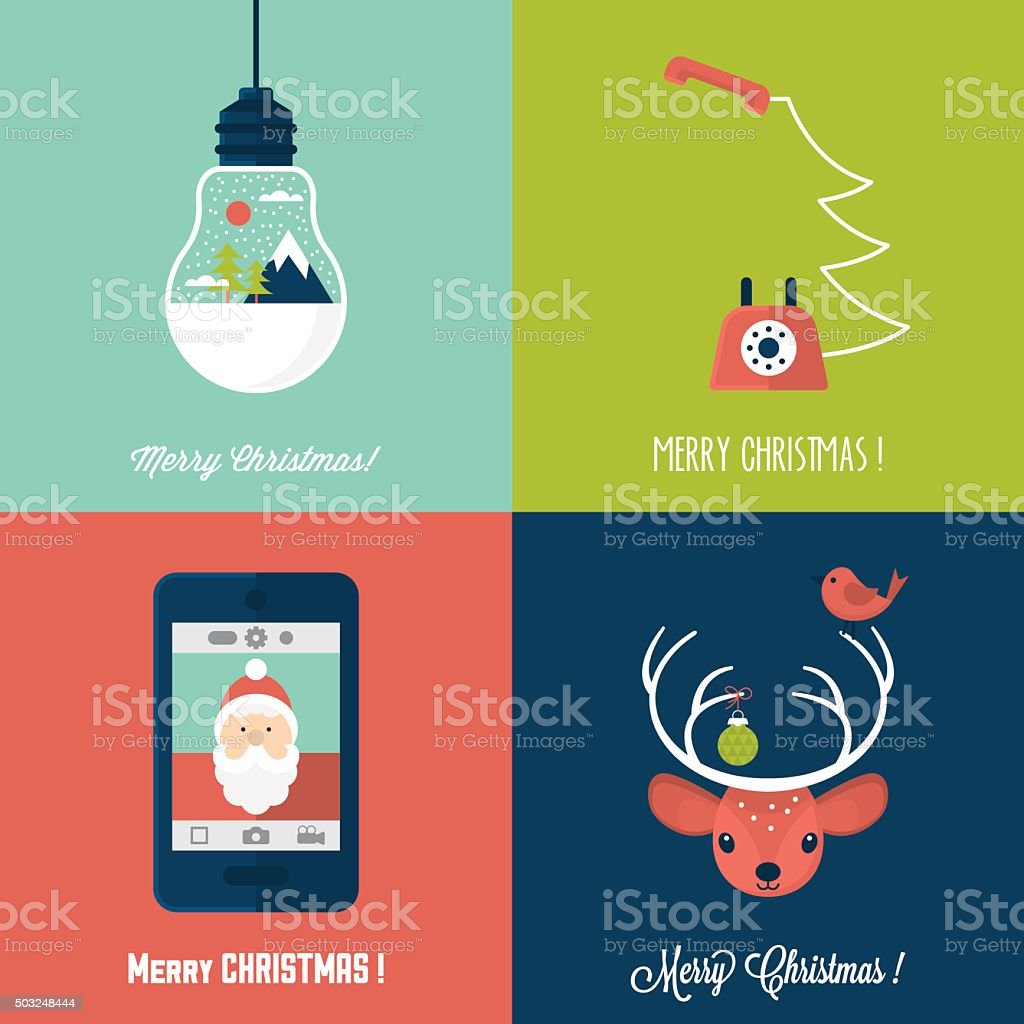 Moderne Weihnachtskarte Flache Stilvolle Design Satz Von