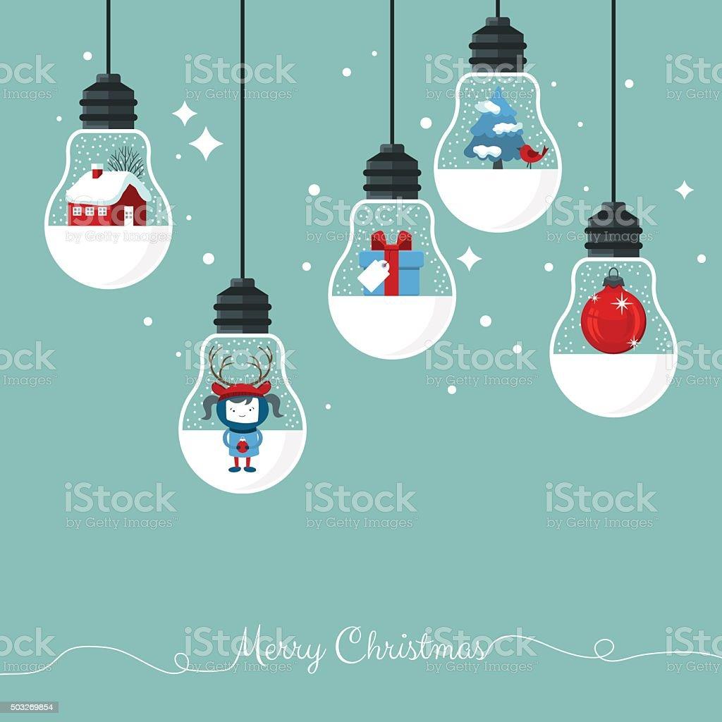 Moderne Weihnachtskarte Flache Stilvolle Design Stock Vektor Art Und