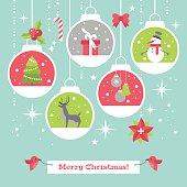 Modern Christmas card flat stylish design with decoration balls.