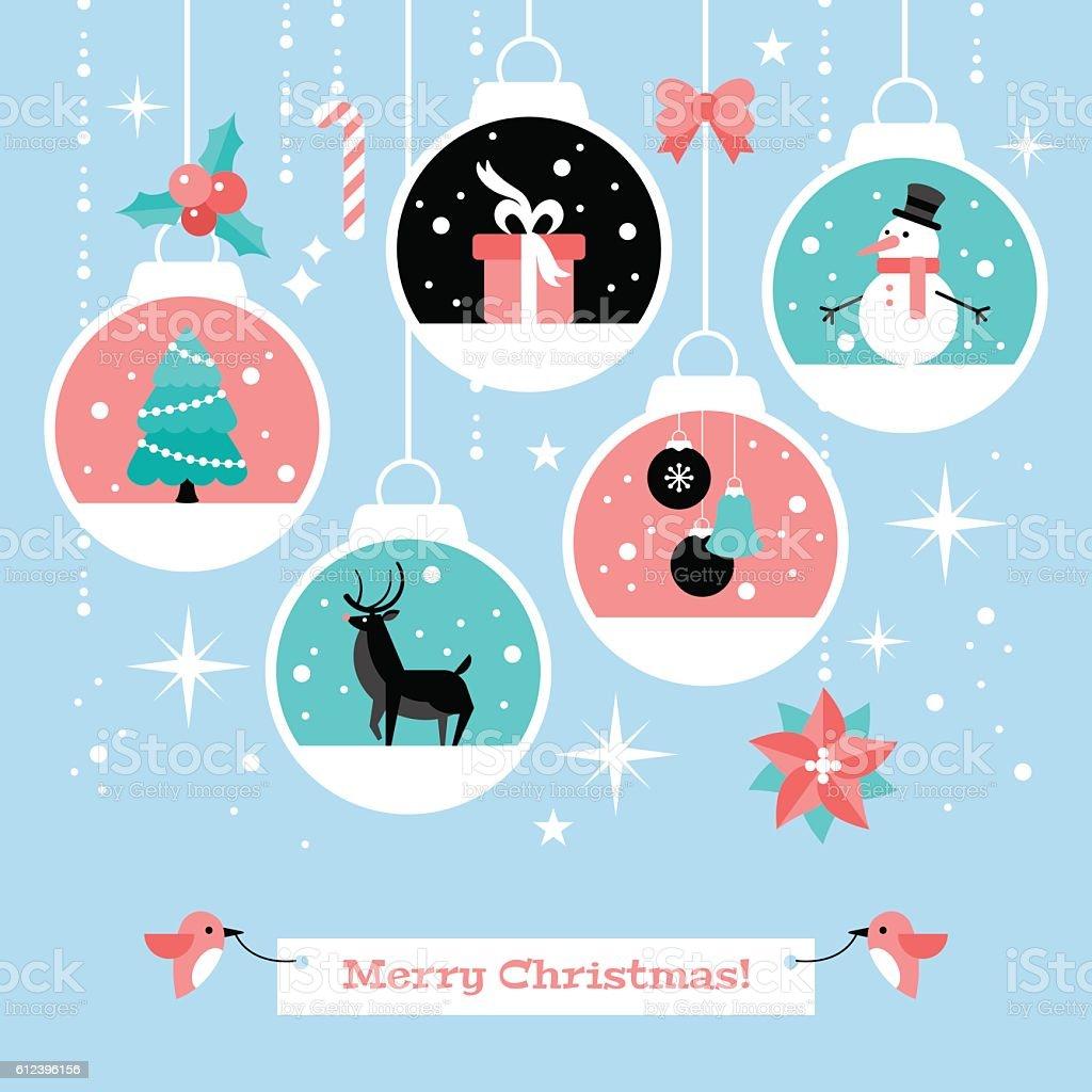 Modern Christmas Card Flat Stylish Design With Decoration Balls ...