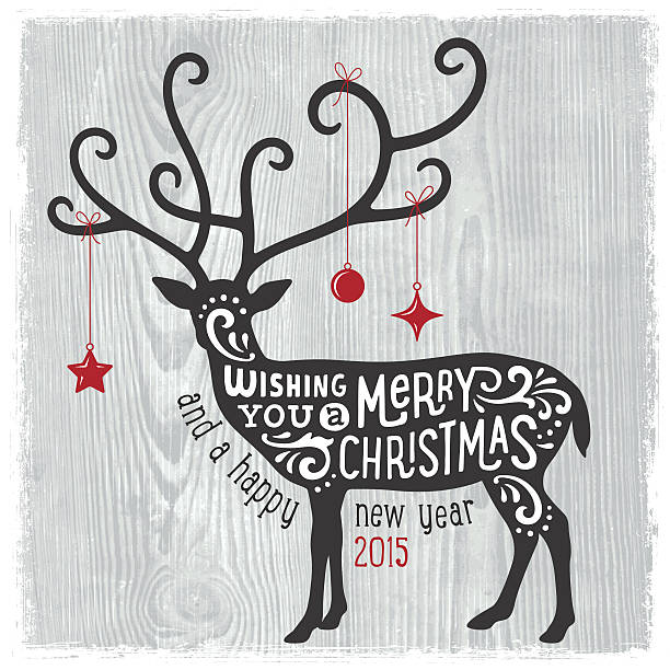 Modern Christmas Card with Reindeer vector art illustration