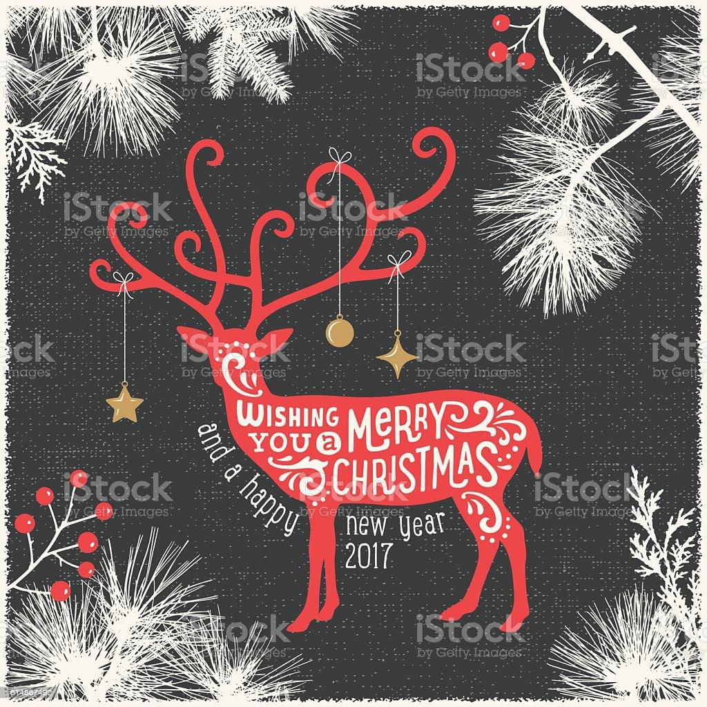 モダンなクリスマスカード、トナカイ ベクターアートイラスト