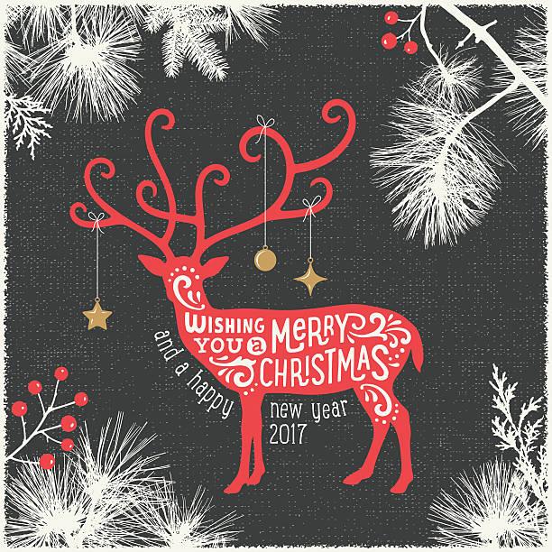 モダンなクリスマスカード、トナカイ - トナカイ点のイラスト素材/クリップアート素材/マンガ素材/アイコン素材