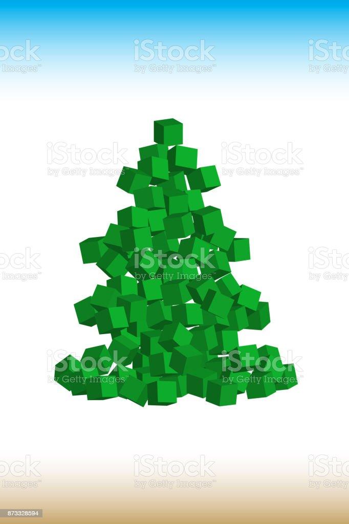 Moderner Weihnachtsbaum.Moderne Weihnachtsbaum Mit Boxen Gemacht Vektorillustration