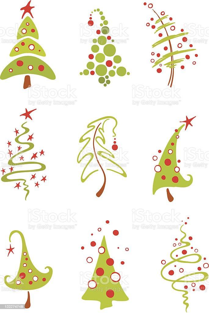 Modern Christmas Trees Stock Illustration - Download Image ...
