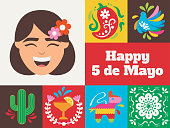 Minimalist and modern greeting card design for the Cinco de Mayo holiday with related icons and symbols. Vector icon designs on Mexican culture.
