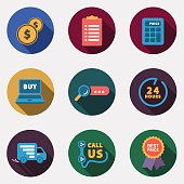 This is a vector illustration of Modern circle colorful shop icons with shadow
