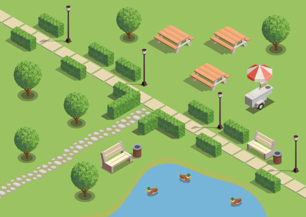 modern city and park infrastructure isometric composition City park recreation area isometric compositions with path pond ducks outdoor furniture lanterns snack vendors vector illustration ducking stock illustrations