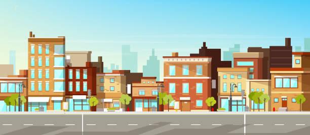 Moderne Stadtgebäude flachen Vektor Hintergrund – Vektorgrafik