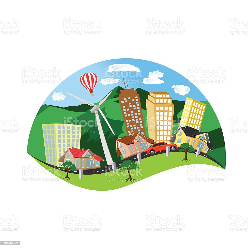 modern city concept, summer landscape, flat style vector illustration royalty-free modern city concept summer landscape flat style vector illustration stock vector art & more images of adult