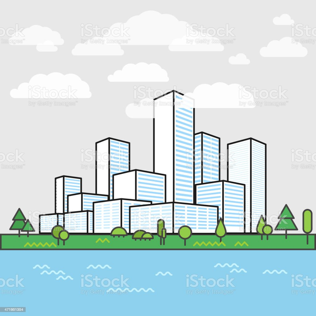Modern city district. Buildings in perspective. Minimalism illustration concept vector art illustration