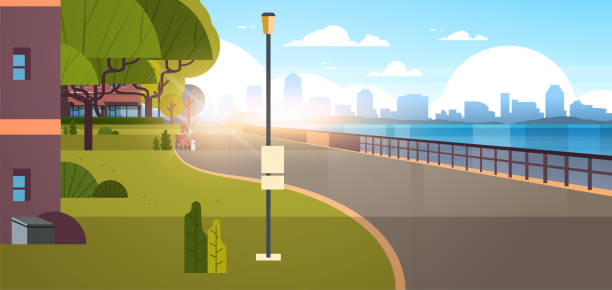 modern city empty quay urban cityscape skyscrapers background view of road river and downtown early morning sunrise horizontal banner flat modern city empty quay urban cityscape skyscrapers background view of road river and downtown early morning sunrise horizontal banner flat vector illustration waterfront stock illustrations